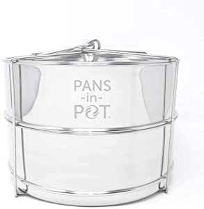 8QT Stainless Steel Stackable Steamer Insert Pans with MAX FILL LINE Indicators for Instant Pot (8 QT)