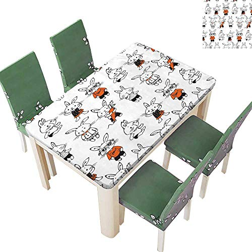 Printsonne Natural Tablecloth Retro Bunny Rabbits Costum Hare Funky Bunni Carrot Sketch Style for Home Use, Machine Washable 52 x 108 Inch (Elastic -