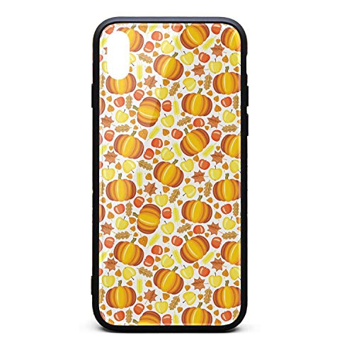 Cartoon Pumpkin Pattern Phone Case for iPhone Xs Max, Slim Protection Art Line Design Cell Phone Protective Case ()