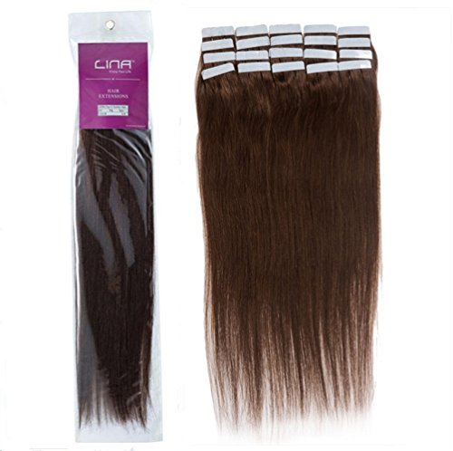 Emosa Adhesive Human Hair Extensions 100% Real Tape Remy Hair (22inch 50g, 04 medium brown)