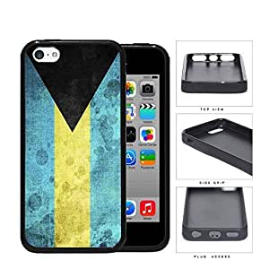fenglinlinBahamas Flag Black Triangle with Aquamarine and Yellow Horizontal Bands Grunge Hard Rubber TPU Phone Case Cover iphone 4/4s