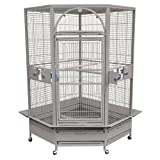 KING'S CAGES GC 14022 Corner Cage 54″Wide x 42.5″Deep x 72″High – 5.5mm Bar Size bird toy toys African Greys Amazons Parrots Large Cockatoos Macaws and other large birds (GRAY/SILVER), My Pet Supplies