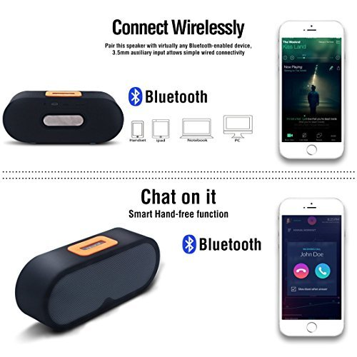Great Features Of Keepax Bluetooth Speaker with Louder Volume Bass Buit-in Mic Dual-Driver Portable ...