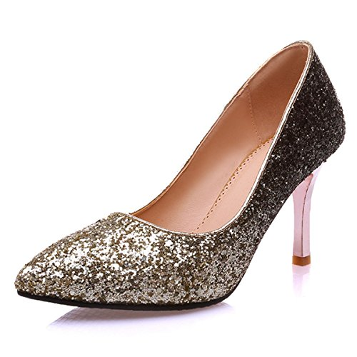 Dress Heel Toe Pumps Party Gold Shoes Women's High Stiletto Pointed DecoStain Glitter Wedding Y1wtqxv