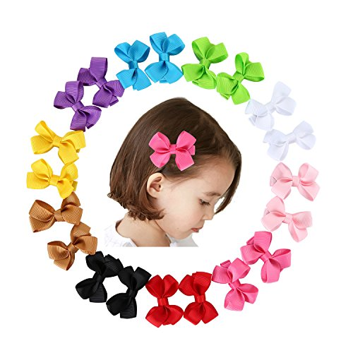 Globalsupplier 10 Pairs Hair Bow Tie Clip Barrettes Pins Crochet Grosgrain Ribbon & 1pc Flower Headband For Baby Girls Teens
