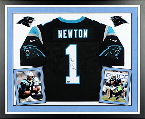 Cam Newton Carolina Panthers Deluxe Framed Autographed Nike Limited Black Jersey - Fanatics Authentic Certified ()