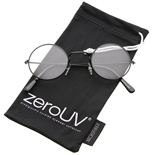 zeroUV - Classic Small Metal Frame Slim Temples Clear Lens Round Eyeglasses 44mm (Black / - Sunglasses Warby Best Parker