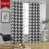 Melodieux Chevron Room Darkening Blackout Grommet Top Curtains, 52 by 84 Inch, Grey (1 Panel)