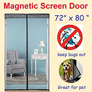"ZYettst 72""(w) X 80""(h) Magnetic Screen Door for French Doors/Sliding Glass Doors/Patio Doors,Hands Free Instant Mesh Mosquito & Bug Net Curtain Black"