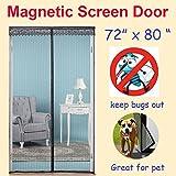 ZYettst 72(w) X 80(h) Magnetic Screen Door for French Doors/Sliding Glass Doors/Patio Doors,Hands Free Instant Mesh Mosquito & Bug Net Curtain Black