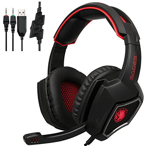 [2017 Newest Lightweight Headphones]SADES Spirit Wolf 3.5mm Wired Computer Gaming Headset with Microphone,Deep Bass Over-the-Ear Noise Isolating, Volume Control, LED Lights For PC Gamers (Black Red)