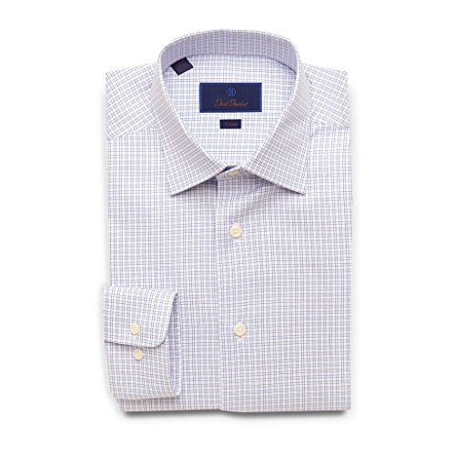 David Donahue Trim Fit Basket Weave Open Check Dress Shirt 17'' Neck 34/35'' Sleeve Blue by David Donahue