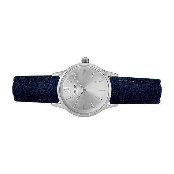 Amazon.com: Cluse Womens La Vedette 24mm Blue Leather Band Metal Case Quartz Silver-Tone Dial Analog Watch CL50017: Watches