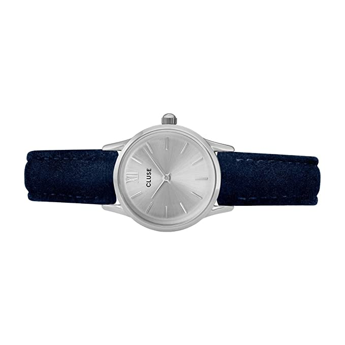 Amazon.com: Cluse Womens La Vedette 24mm Blue Leather Band Metal Case Quartz Silver-Tone Dial Analog Watch CL50017: Watches