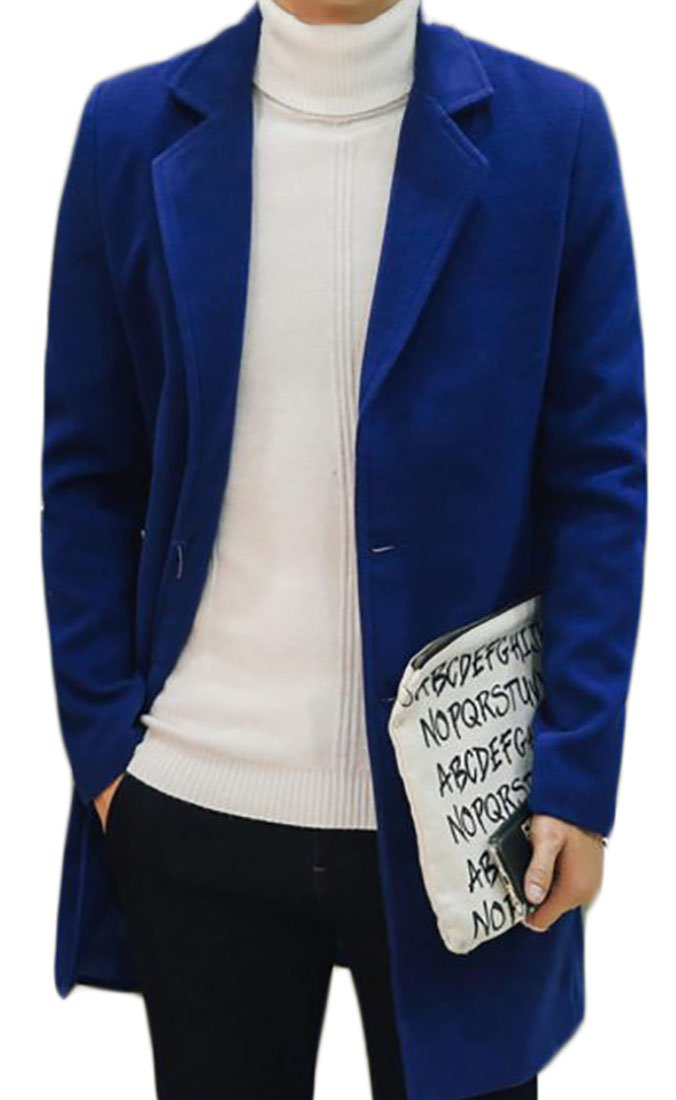 Fulok Mens Thicken Wool Blend Single Breasted Trench Jacket Peacoat Jewelry Blue XL