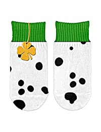 St Patrick's Day Dalmatian Costume Green Collar Shamrock Toddler Ankle Socks