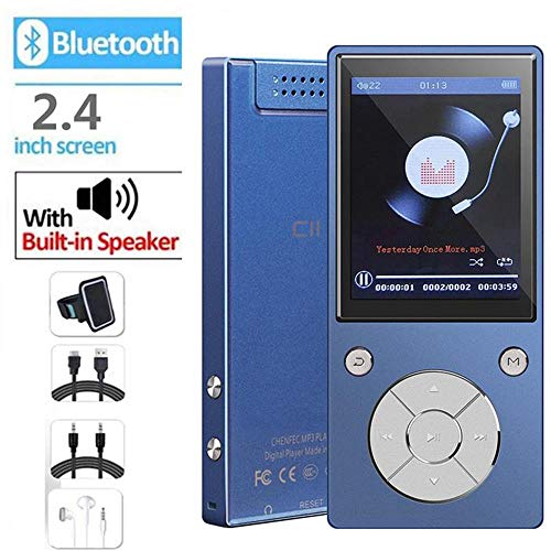 MP3 Player Bluetooth4.2 Built-in Speaker 16GB with 2.4 Inch TFT Color Screen Lossless Sound Music Video Player with FM Radio, Supports SD Card up to 128GB by DeeFec – Blue