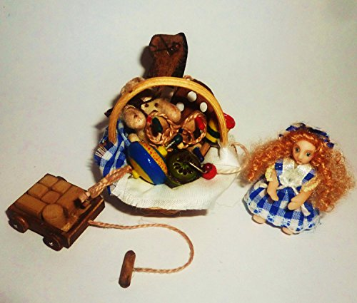 Wicker Basket with Victorian toys. Dollhouse miniature 1:12 by Donlane