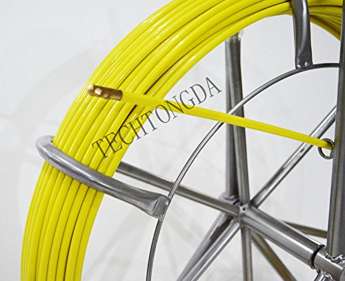 TECHTONGDA Fish Tape Fiberglass Reel Wire Cable Running Rod Duct Rodder Fish Tape Puller