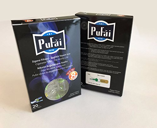 Cigarette filters holder for normal size cigarettes , disposable 20 pieces regular filters in a dark box by Pufai . New 8 Hole Strong Filtration System