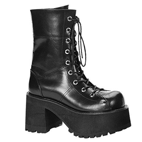 Pleaser Women's Ranger-301 Platform Calf Boot,Black,10 M US