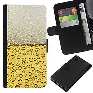 All Phone Most Case / Oferta Especial Cáscara Funda de cuero Monedero Cubierta de proteccion Caso / Wallet Case for Sony Xperia Z1 L39 // Beer Bubbles Foam