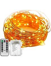 Staright 20M / 65.6 pés 200 LEDs Luzes de fada Lâmpada de fio de cobre Luz de corda de Natal 8 modos de iluminação com controle remoto 3 * AA Cell Powered para festa de casamento Pátio Jardim Decoração de casa