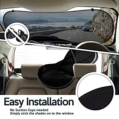 Zone Tech Car Sun Cling On Shade-No Suction Cups Needed Premium Quality Mesh Back Window Shade Clear Stop Sun Visor Protects UV Rays Sun Glare Baby, Kids, Pets, Folding Auto, Universal Fit, SUV: Automotive