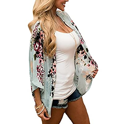 PRETTODAY Women's Floral Print Kimonos Loose Half Sleeve Shawl Chiffon Cardigan Blouses Casual Beach Cover Ups at Women's Clothing store