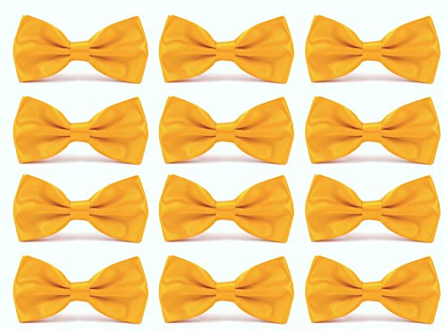 Yellow Gold Bow Tie - 12pcs Men's Pre-tied Adjustable Formal Bow Tie Tuxedo Solid Bowtie by Avant Men (12 pack-Golden yellow)