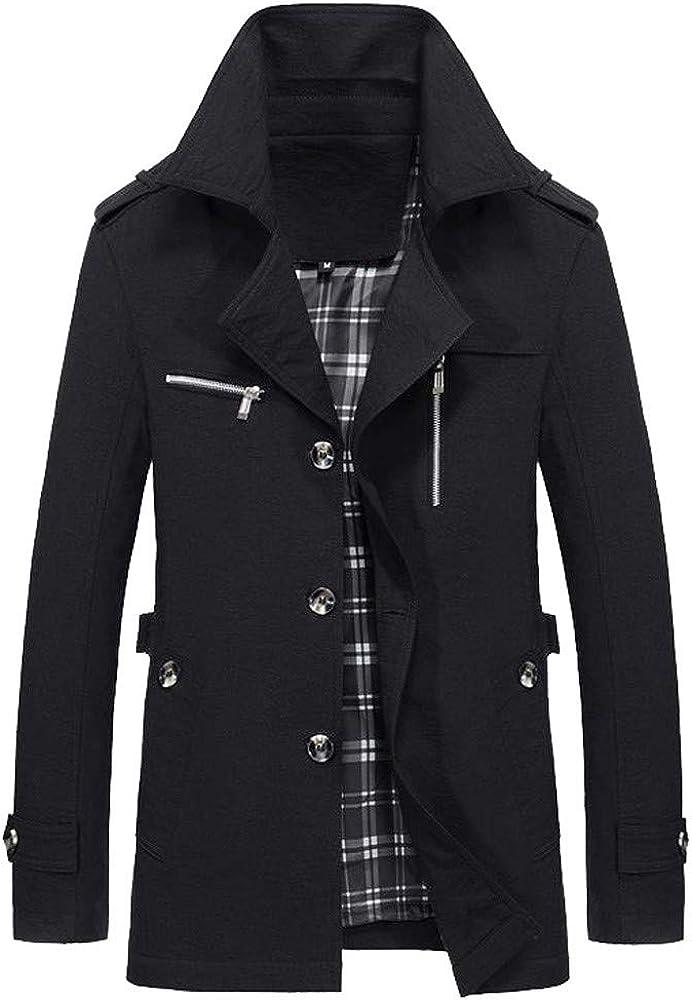 vermers Mens Fashion Coat Men Winter Warm Jacket Overcoat Slim Long Trench Buttons Outwear