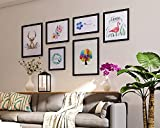 Decorative picture wall large size sofa background picture frame solid wood wall painting pastoral style living room combination of European 10 inch 12 inch 16 inch ( Color : Black )