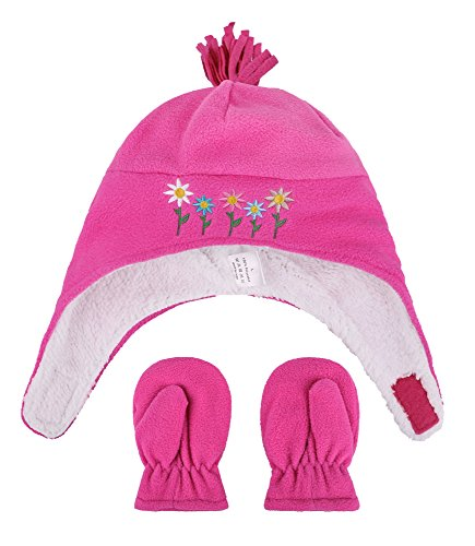 Girls Sherpa Lined Flower Embroidered Fleece Hat and Gloves Set, L 5-7 Years