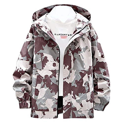 Beautyfine Men's Hoodies Coat Tops Autumn Spring Casual Solid Camouflage Patchwork Stand Collar Thin Jacket ()