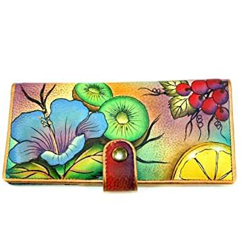 Anuschka Genuine Leather Hand Painted Two Fold Wallet (Fruity Fiesta)