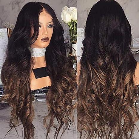 Neuf femmes Gradient Noir Cheveux longs bouclé