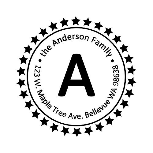 Address Stampers Self Inking Capital Letter A Super Star Personalized Return Rubber Name Seals Label Stamp Circular Diameter 1.65inch 1pc ()