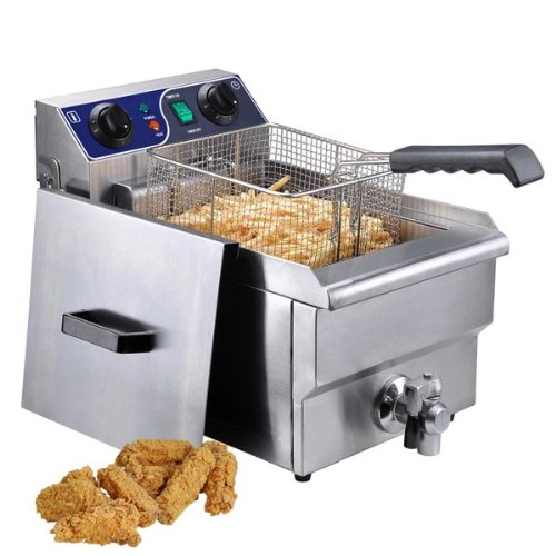 Single Electric 10L Deep Fryer with Drain For Sale