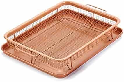 Gvode Copper Crisper as Oven Air Fryer- Multi-Purpose Non-Stick Baking Frying Tray & Basket
