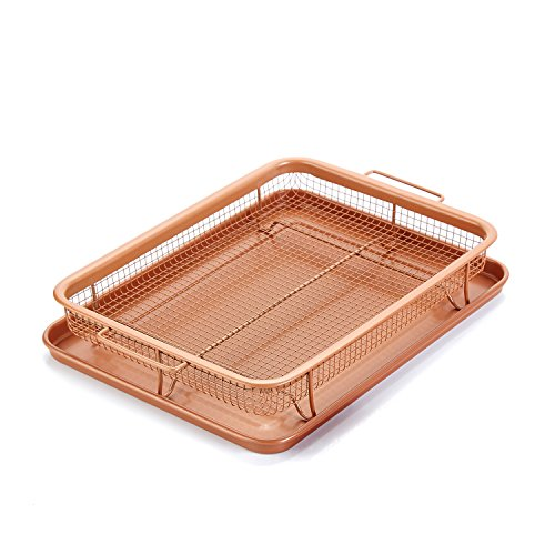 Gvode Copper Crisper as Oven Air Fryer- Multi-Purpose Non-Stick Baking Frying Tray & Basket by GVODE