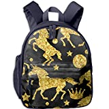 Unicorns And Gold Glitter Print Durable Kids Back to School Backpack Canvas Book Bag