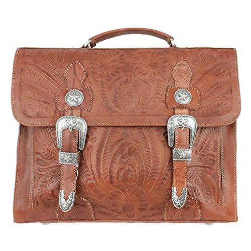 - American West Leather -Large Shopper Tote Bag -Purse Holder Bundle (Antique Brown- Laptop Briefcase)