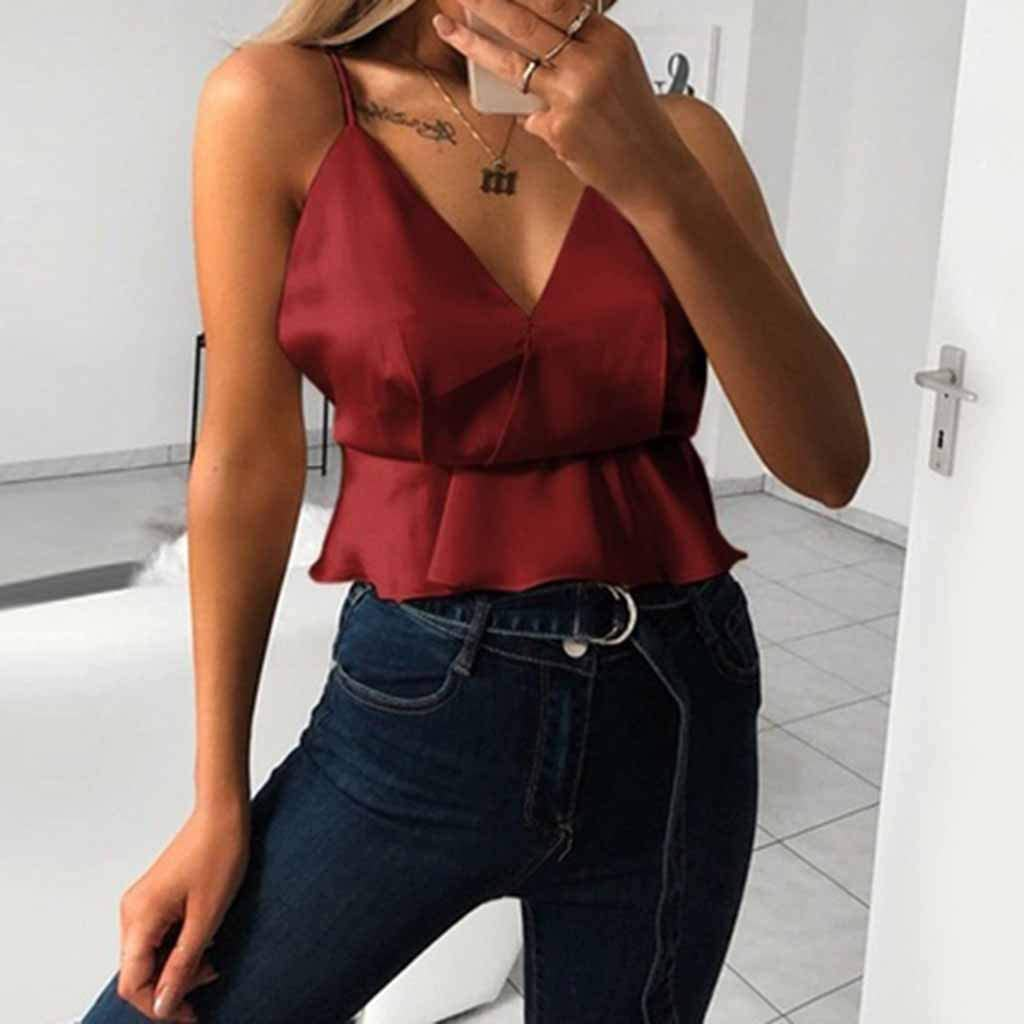 Womens Summer Tanks,Fineser Womens V Neck Tank Tops Camis Solid Ruffles Casual Sleeveless Blouse Ladies Vest S-XL