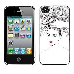 For iPhone 4 / 4S - Beautiful Woman Red Lips Peacock Feathers /Modelo de la piel protectora de la cubierta del caso/ - Super Marley Shop -