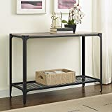 WE Furniture Angle Iron Rustic Driftwood Wood Sofa Entry Table