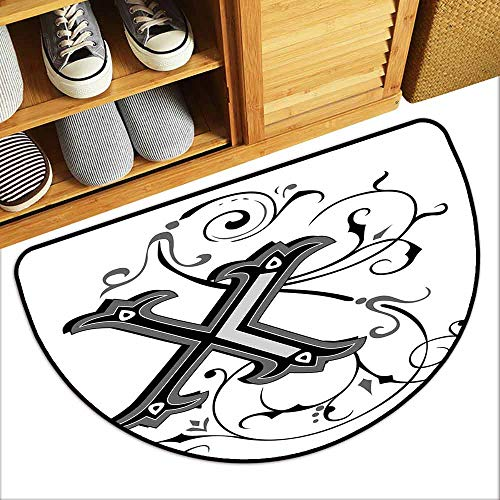 G Idle Sky Letter X Printed Door mat Renaissance Medieval X Latin Alphabet Antiquity Characters Initials Name Hard and wear Resistant W23 x L15 Black Grey White
