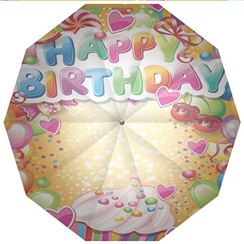 Compact Travel Umbrella UV Protection Auto Open Close Birthday Decorations,Vivid Colored Framework with Many Balloons Cupcake Cherry and Windproof - Waterproof - Men - Women -Lightweight- 45 -