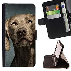 Stuss Case / Funda Carcasa PU de Cuero - Weimaraner Retrato Bozal perro gris - HTC Desire 626