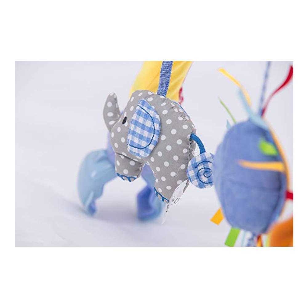 Elefante y le/ón Mordedor Sonajero Morbuy Cama de m/úsica para beb/é Colgantes y Cunas Decoraciones de Buggy con Arco de Doble Uso de suspensi/ón Incluyen Squeak