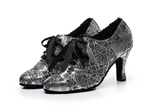 para Heel Black diseño Minishion Zapatos mujer puntera cerrada de floral lazo de para fiesta con Cm noche baile 8 qUqwPRf
